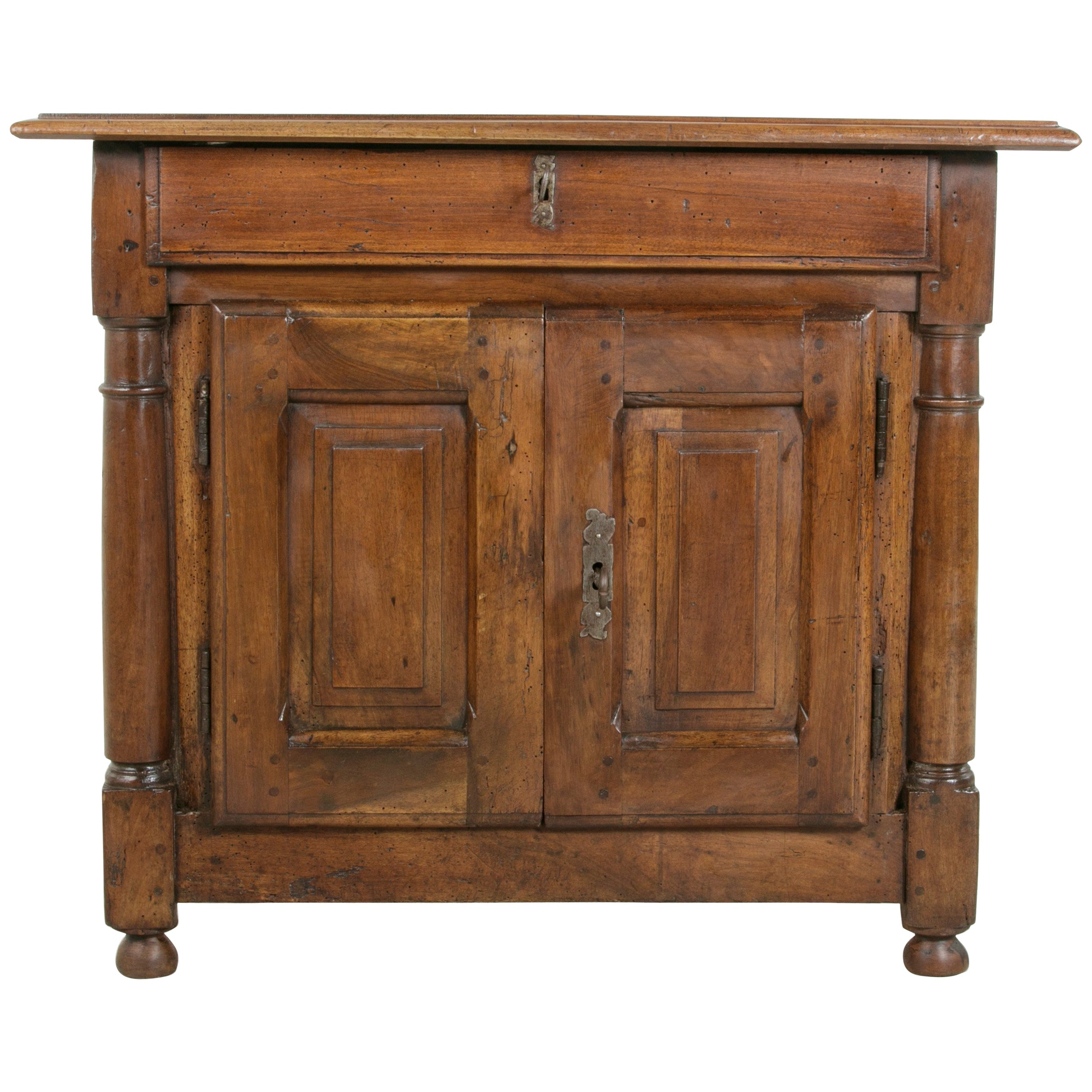 French Empire Period Small Scale Walnut Armoire With Bronze Fittings At