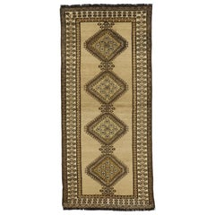 Vintage Persian Shiraz Tribal Runner, Hallway Runner Warm Earth Tone Colors
