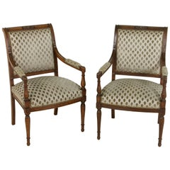 Pair of French Directoire Period Hand-Carved Walnut Armchairs, circa 1800