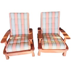 Pair of Custom Midcentury Maple Folding Chairs