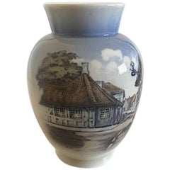 Royal Copenhagen Vase #4764 with Village Motif
