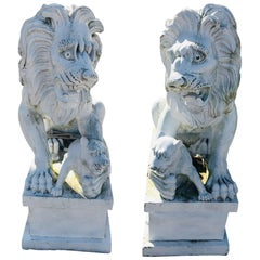 Pair of Marble Painted Lions on Bases