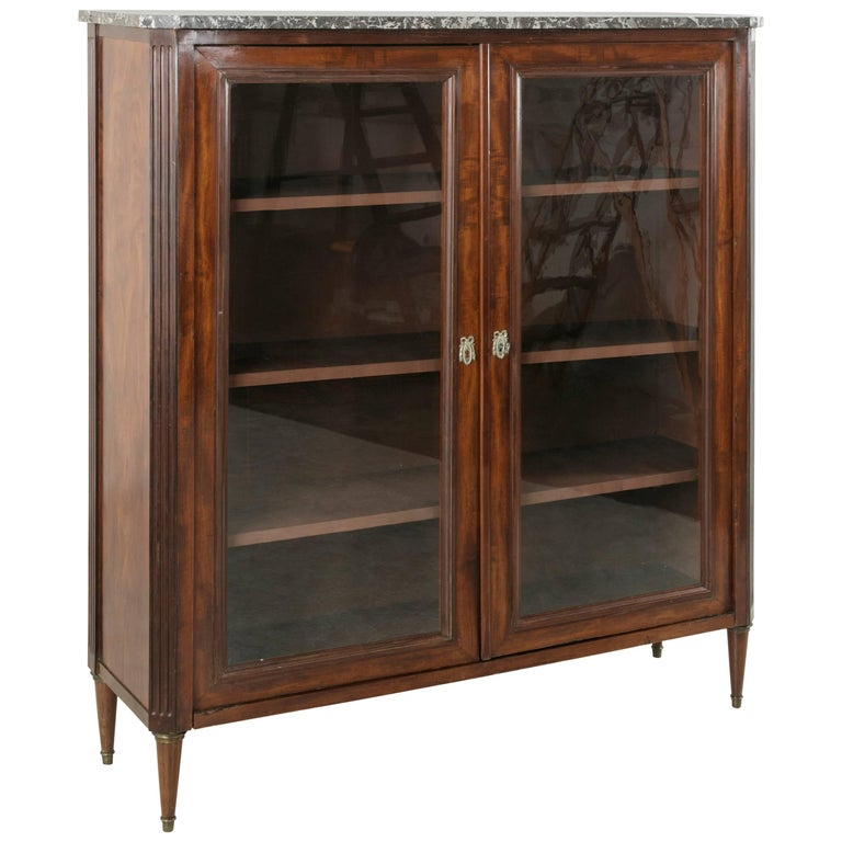 19th Century French Louis XVI Style Mahogany Bibliotheque, Bookcase with Marble