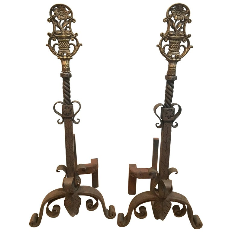 Continental Floral Andirons For Sale