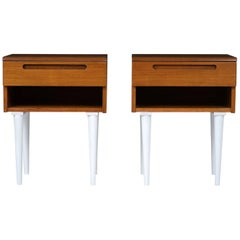 Danish Mid-Century Modern-Style Nightstands, a Pair