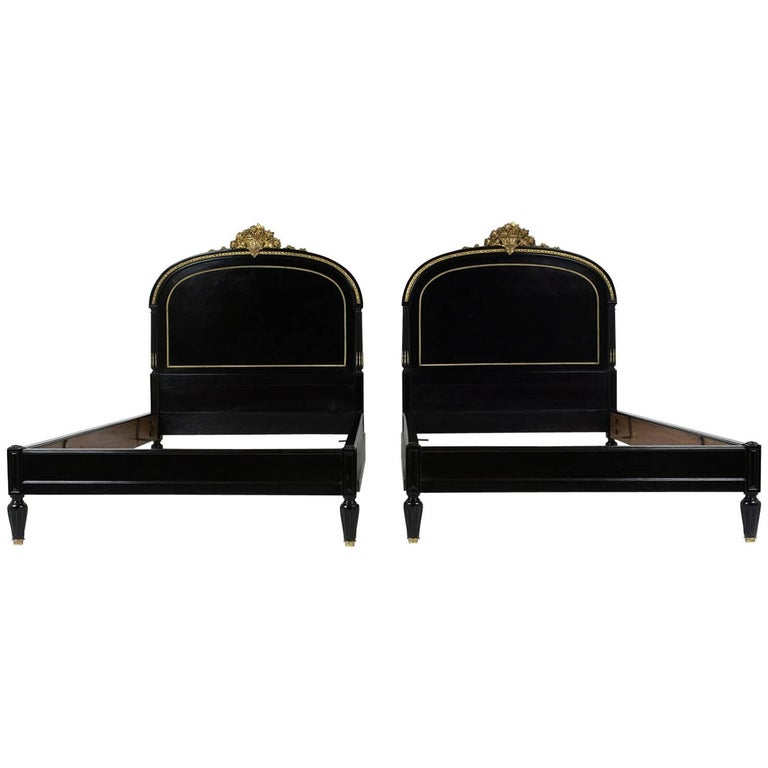 Pair of 19th Century Louis XVI-Style Twin Extra Large Bed Frames
