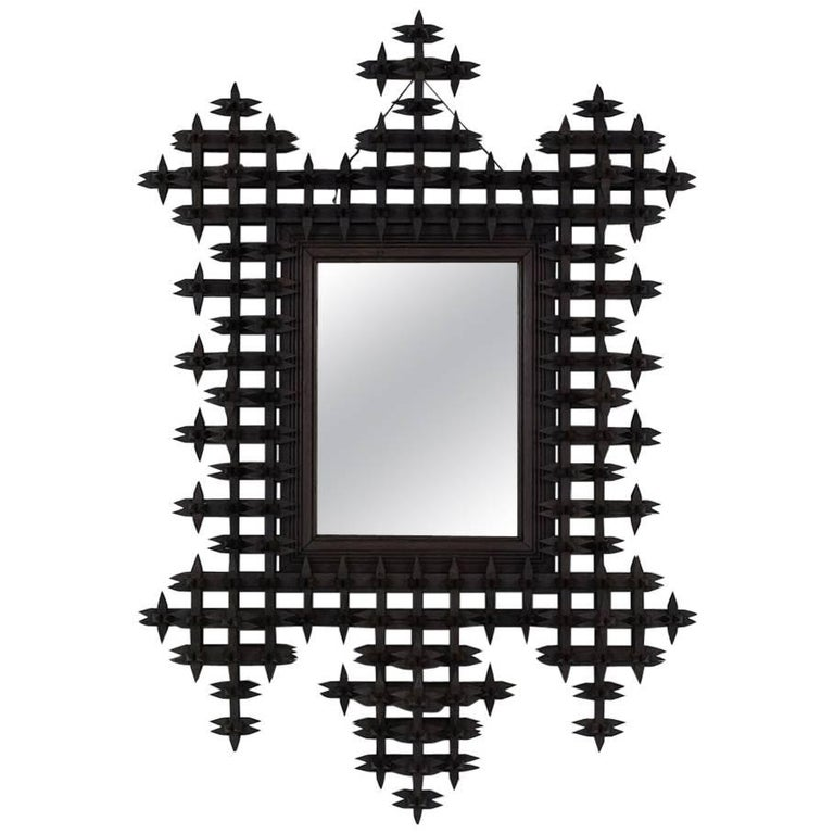 Early 20th Century Tramp Art-Style Wall Mirror