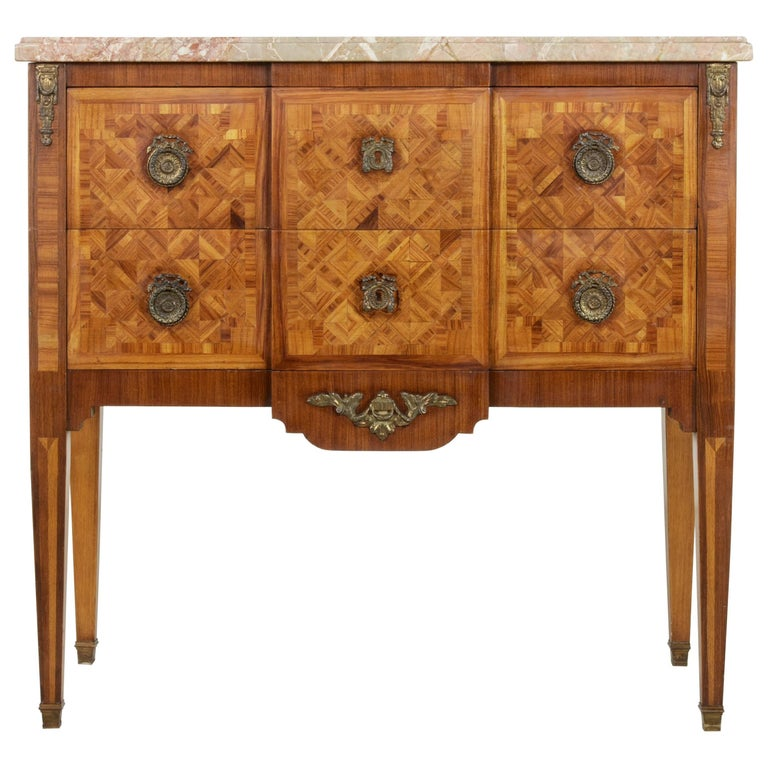 Small Scale Early 20th Century French Louis XVI Marquetry Commode or Chest