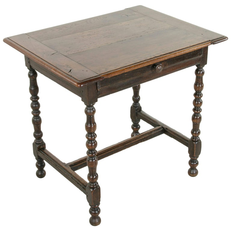 Rustic 18th Century French Oak Louis XIII Style Side Table with 19th Century Top