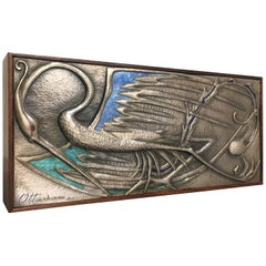 Ottaviani Silver and Enamel Rosewood Box with Bird Design, 1950s