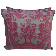 Pink and Silvery Gold Fortuny Pillows, a Pair