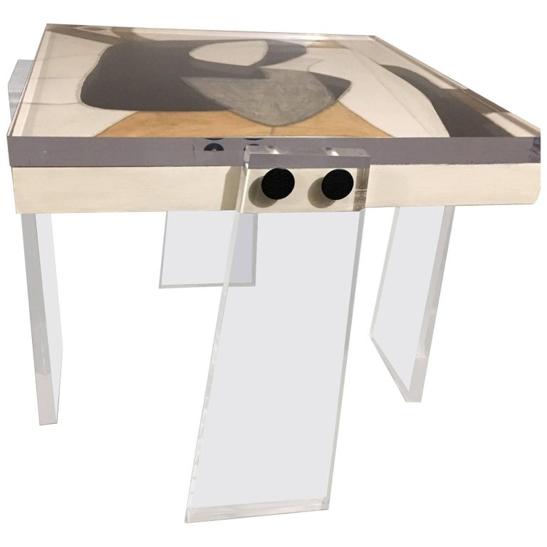 Original/Signed/Handmade Acrylic Gallery Table by Known Artist Steve McElroy For Sale
