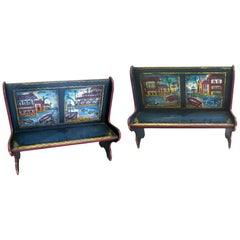 Pair of Peter Hunt Hand-Painted and Signed Benches