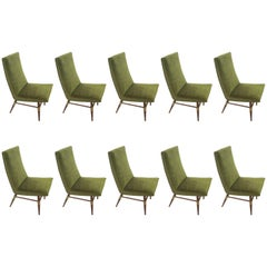 Set of Ten Italian Mid-Century Modern Brass-Mounted Walnut Dining Chairs