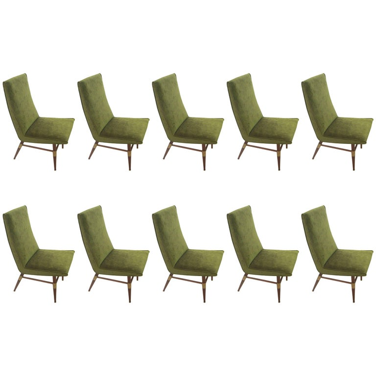 Set of Ten Italian Mid-Century Modern Brass-Mounted Walnut Dining Chairs