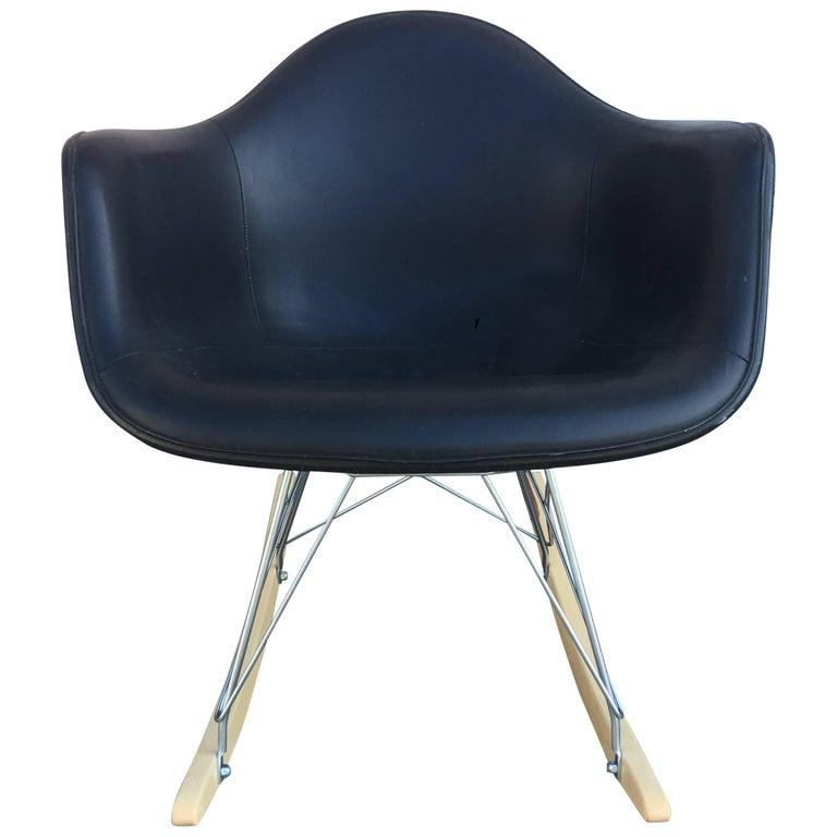 Black Herman Miller Eames Fiberglass Rocking Chair