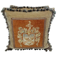 Italian Hand-Painted Velvet Pillows with Family Crest, a Pair