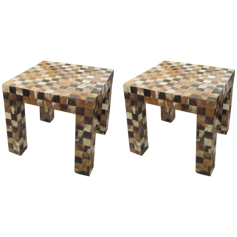 Pair of horn-Inlaid End Tables with Graphic Chequered Pattern