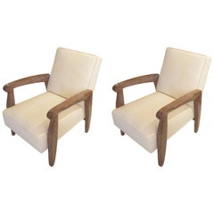 Custom Pair of Cerused Oak Lounge Chairs in the French 40s manner