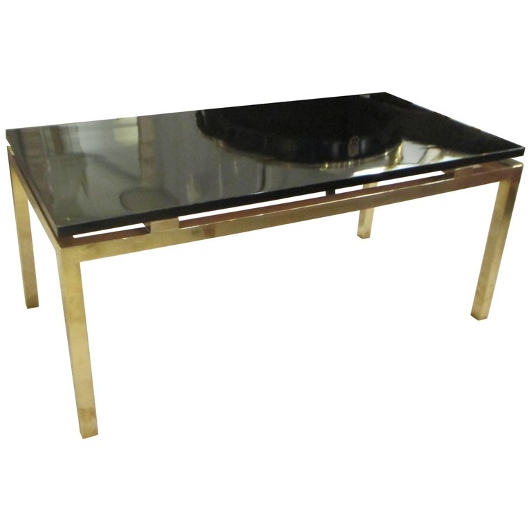 Modern Coffee Table with Lacquered Top on Brass Base