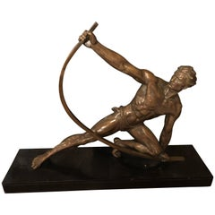 "Jean de Roncourt Strongman ""The Bender"" French Art Deco Statue, Rare"