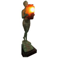 French Art Deco Illuminated Sculpture by Pierre Le Faguays