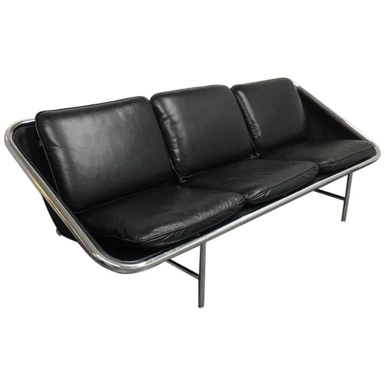 George Nelson Black Leather Chrome Sling Sofa by Herman Miller