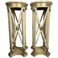 Pair of Regency Style Cream Painted Grosfeld House Pedestals
