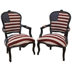 """Louisiana Purchase Chairs""Old Glory Upholstered Black Lacquered Fauteuils, Pair"