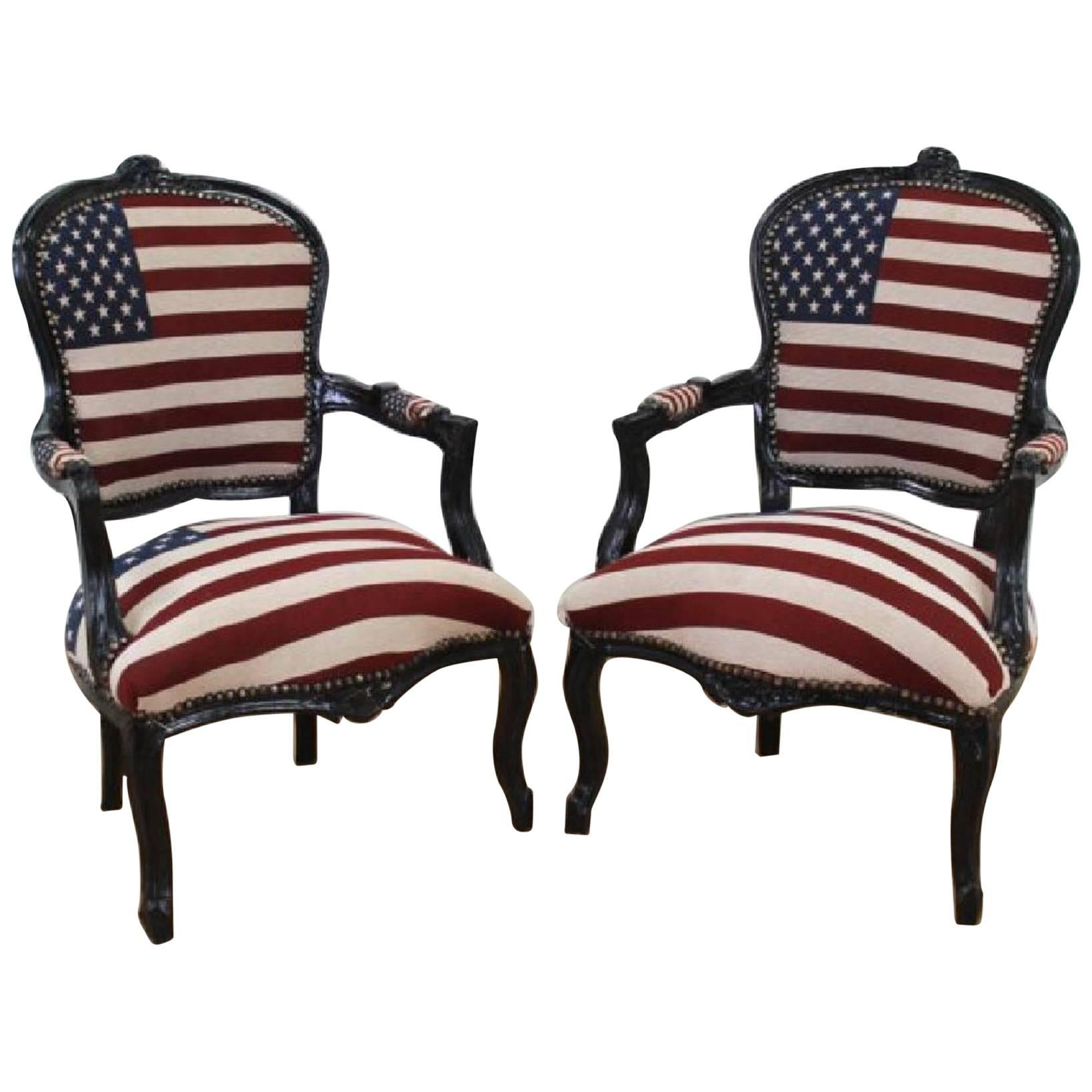 Louisiana Purchase Chairs Old Glory Upholstered Black Lacquered Fauteuils Pair For Sale  sc 1 st  1stDibs & Louisiana Purchase Chairs