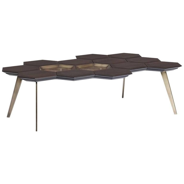 In Stock Coffee Table, Wood and Brass Contemporary Coffee Table For Sale