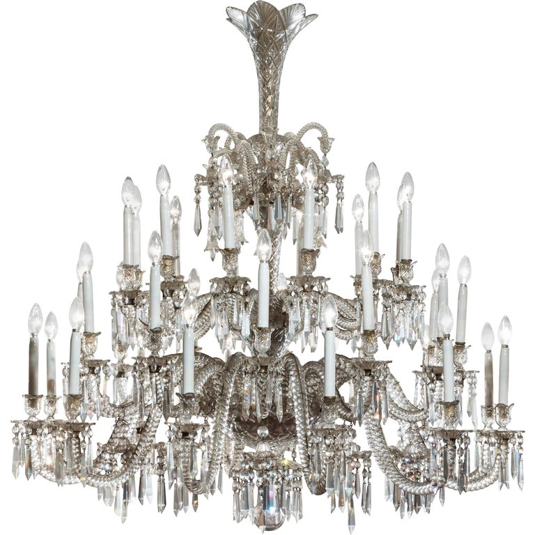 19th Century Neoclassical Baccarat Crystal and Glass 36 Light Crystal  Chandelier For Sale - 19th Century Neoclassical Baccarat Crystal And Glass 36 Light