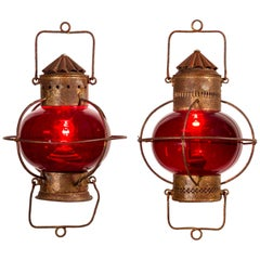 Pair of 19th Century Nautical Oil Lamps with Red Globes Electrified