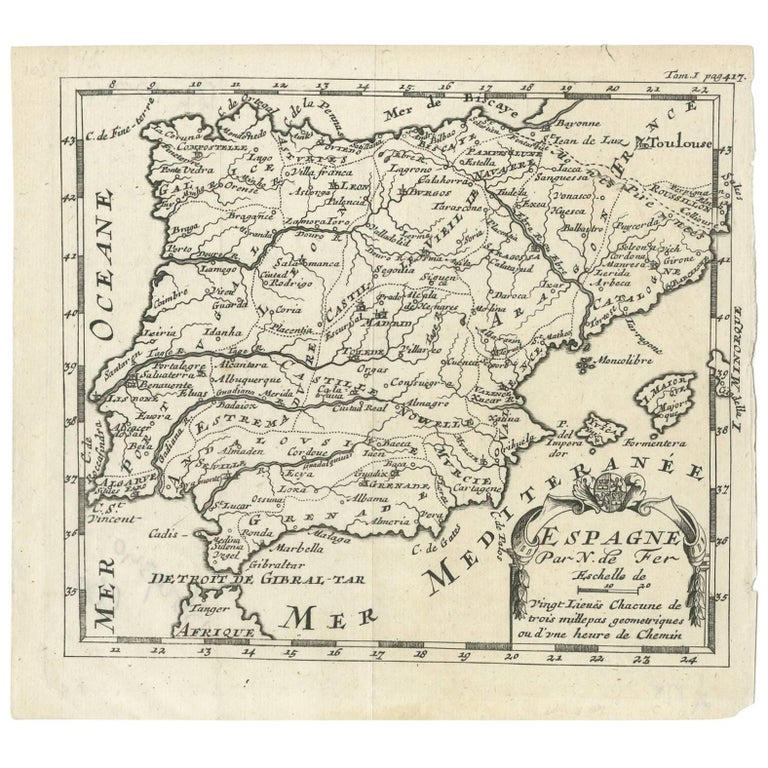 Map Of Spain 1700.Antique Map Of Spain By N De Fer Circa 1700