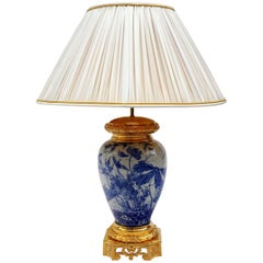 Lamp in Blue and White Far East Ceramic Mounted in Gilt Bronzes, 19th Century