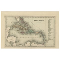 Antique Miniature Map of the West Indies by T. Starling, 1830