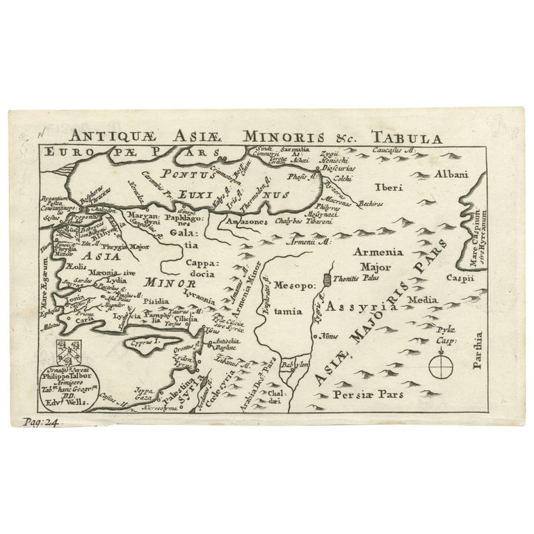 Map Of Asia Minor.Antique Map Of Asia Minor By E Wells Circa 1718