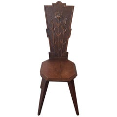 Early 1900s Hand-Carved Oak Art Nouveau Hall Chair