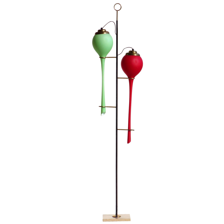 Stilnovo Italian Design 1950s Midcentury Red Green Glass Floor Lamp
