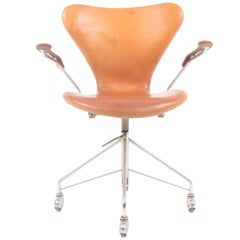Desk Chair in Patinated Leather by Arne Jacobsen