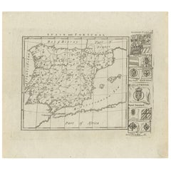 Antique Map of Spain and Portugal, circa 1820