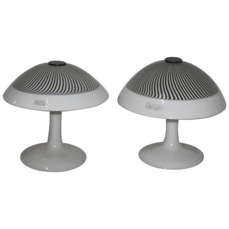 Pair of Table Lamp Lino Tagliapietra 1980 Effetre International Murano Glass