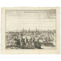 Antique Print of the City of Copenhagen 'Denmark'