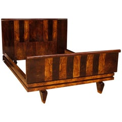 Italian Double Bed in Palisander and Burl Walnut in Art Deco Style, 20th Century