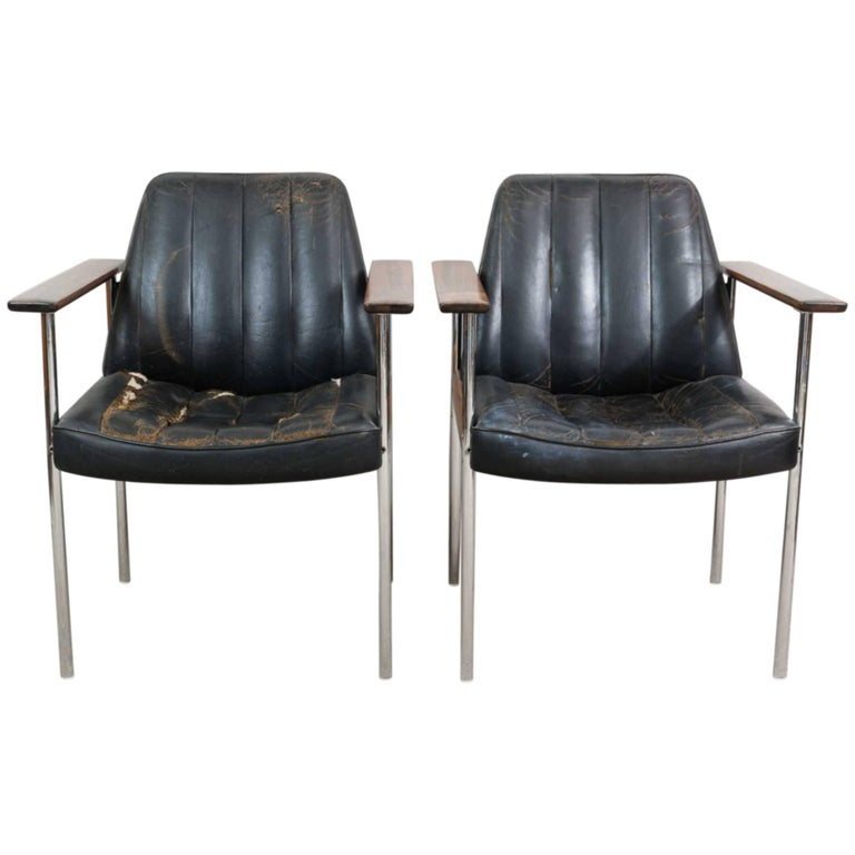 Pair of 1960s Rosewood Leather Chrome Armchairs by Sven Ivar Dysthe for Dokka