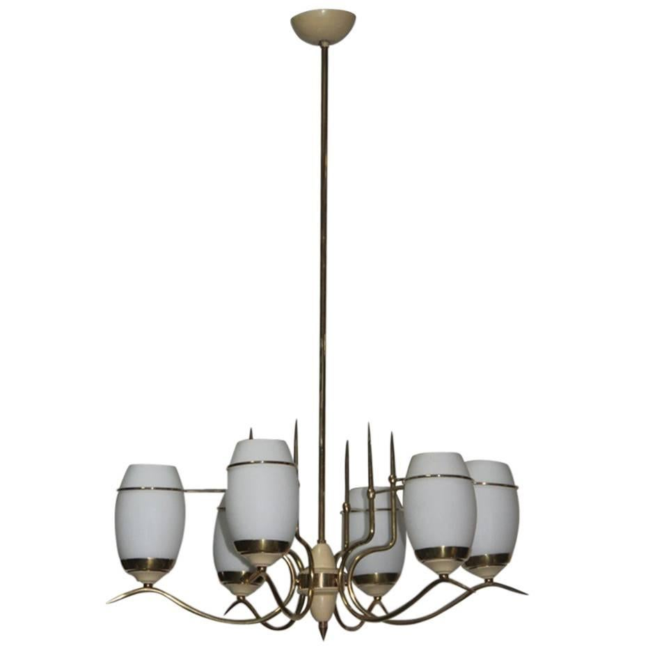 Mid-Century Italian Chandelier Stilnovo Style Brass Lacquered Murano Glass