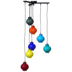 Vistosi Multi-Color Glass Pendant Midcentury 1950s Italian Design Ceiling Lamp