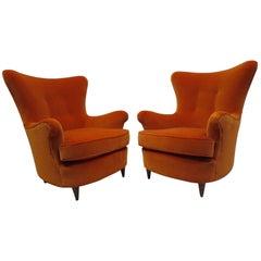Pair of Velvet Armchairs by Angeli Renato and Claudio Luigi