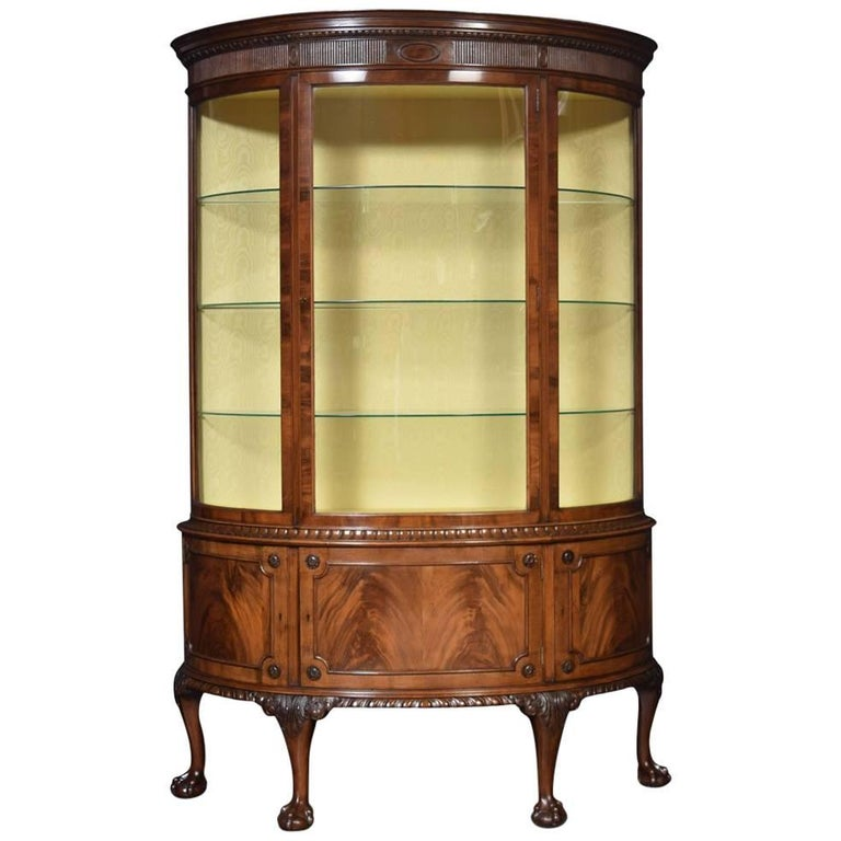 Flame Mahogany Bow Fronted Display Cabinet