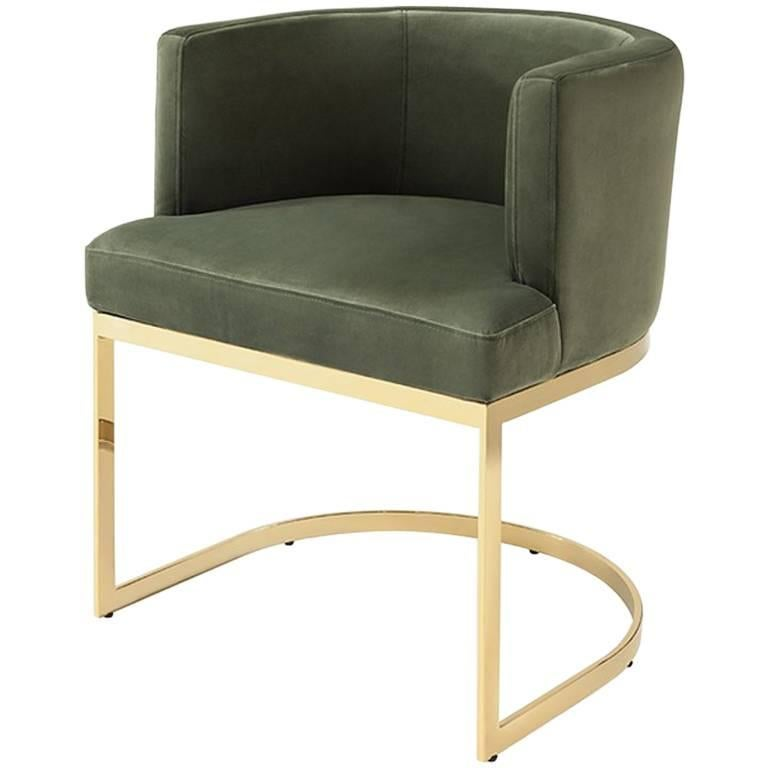 Kindly Armchair Upholstered With Olive Green Or Turquoise Velvet Fabric For  Sale
